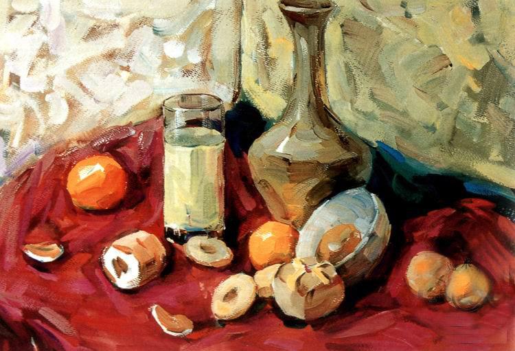 色彩(罐子,玻璃杯和水果)作画步骤