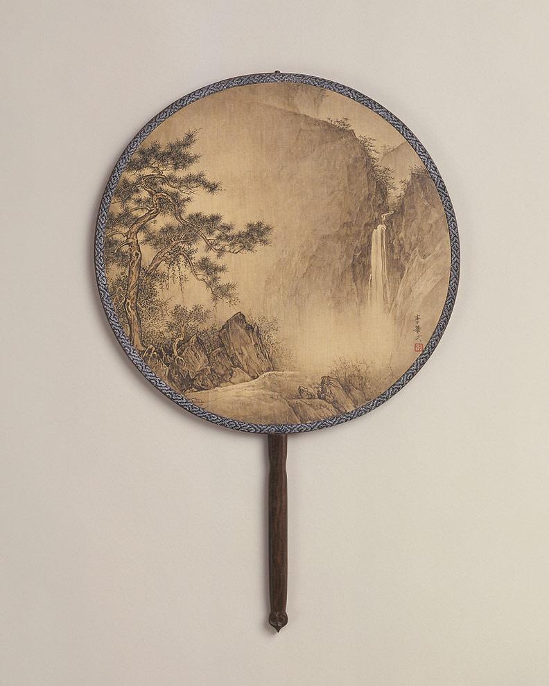 圆形扇子画中国风手绘
