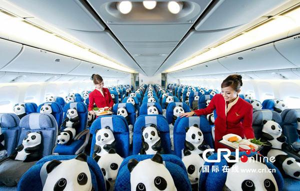 /enpproperty-->  熊猫登机  6月9日,曾经风靡全球、在多个国家和地区引起很大反响的艺术作品1600熊猫抵达香港国际机场,在入境大厅吸引了里三层外三层的围观人群。这个1600只熊猫是由法国艺术家保罗葛兰金创作的。他介绍说,目前全球野生熊猫大约是1600只,所以他就制作了1600只纸熊猫,让它们在全世界旅游,以此唤起人们保护濒危动物的意识。   图为熊猫乘坐飞机飞往香港,受到了空姐的热情服务  作者葛兰金曾经潜心研究泰国的纸糊技术,并把它转化为艺术的