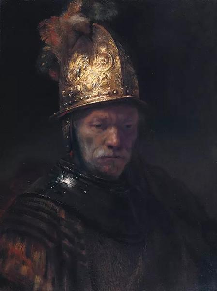 伦勃朗社交圈内的某位画家,《金盔男子像》,约1650年,布面油画