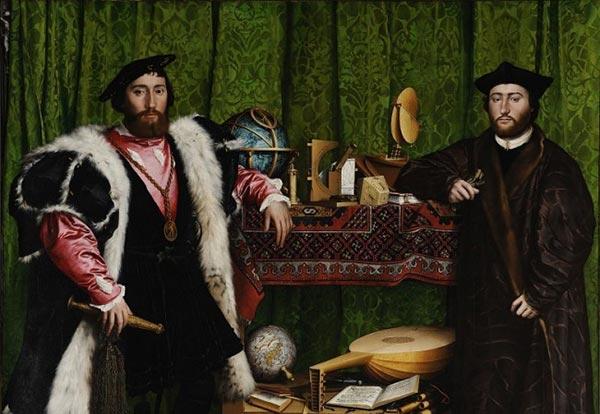 按:霍尔拜因的代表作《大使》中有一个反常的细节:一个奇异地浮现在两个人像之间的灰色纺锤状斜置物体,从左侧下方凝视,这个物体竟是一个变形透视的骷髅。艺术家为何在画面中加入这一畸像(anamorphose),一直是艺术史众说纷纭的谜题:炫技、显与隐的游戏、对巴洛克虚空(vanit)主题的个性表达、对意义的驱除和意义之不可驱除的矛盾展现,甚至新教氛围中隐藏的天主教迷思这是画面中不可见部分的冰山一角,是两个维度空间的偶然碰撞,无意识在意识中的蛛丝马迹正因如此,精神分析大师拉康对此画青睐有加,并在其研