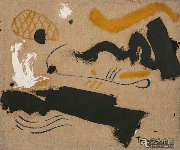 唐平刚作品《无题》,1988 当我们深入探究这些作品,不难发觉这些视觉图像很容易令人联想到胡安米洛、瓦西里康定斯基等早期现代主义艺术先驱的作品。徜徉在这些视觉线索之中,观看者不禁会问:是什么使唐平刚的作品独树一帜?在这些神秘的图像符号、超现实主义的气质、喷漆画和拼贴等手法和技巧之外,唐平刚也从中国传统绘画的视觉元素中汲取了大量灵感。在这些作品中,我们或许能够察觉到艺术家对中国传统宇宙观的借鉴,也能体会到中国缓缓拉开帷幕的社会-经济改革所带来的影响,这是与音乐相辅相成的抒情洋溢,也是艺术家对个人生活