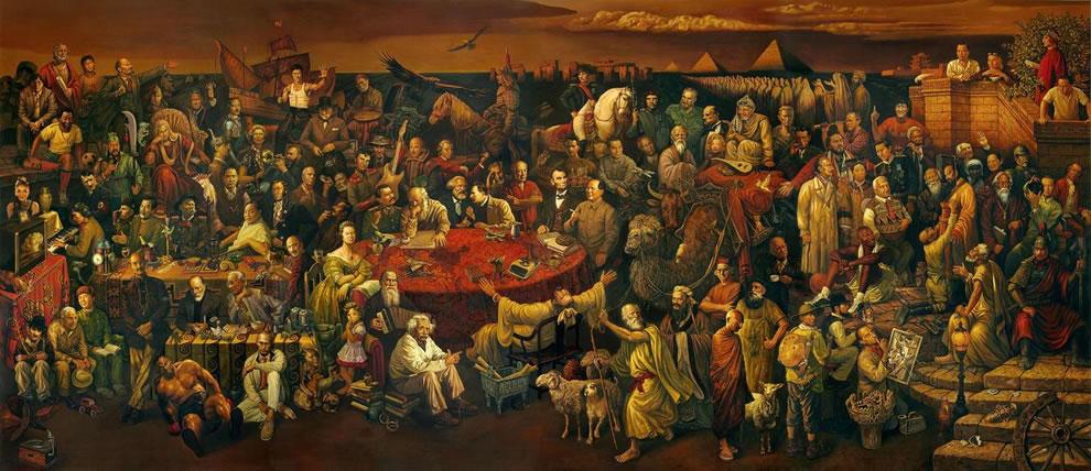 一幅包容古今中外103位世界名人的巨幅油画 - hnhyljj - 羅傑軍博客