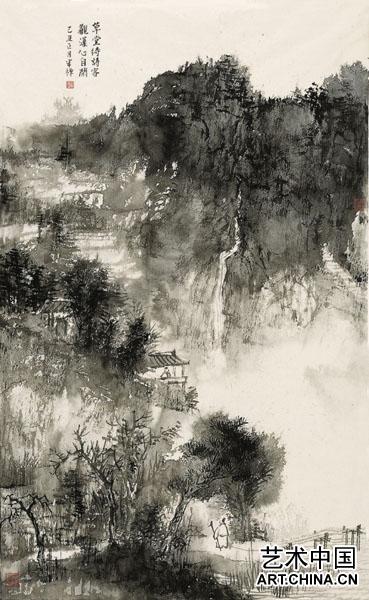钢笔手绘谈彩山水风景