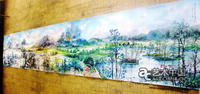 杨希雪新水彩十米长卷《春夏秋冬四季图》,于二0-一年七月作于英国图片