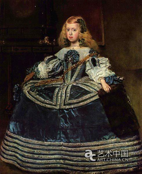 穿蓝色衣服的特丽莎公主 127 107cm 1659年 奥地利维也纳高清图片