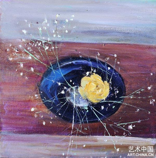 苏天赐黄玫瑰41×41cm1993布面油画; 苏天赐:我站在画布面前; 黄玫瑰