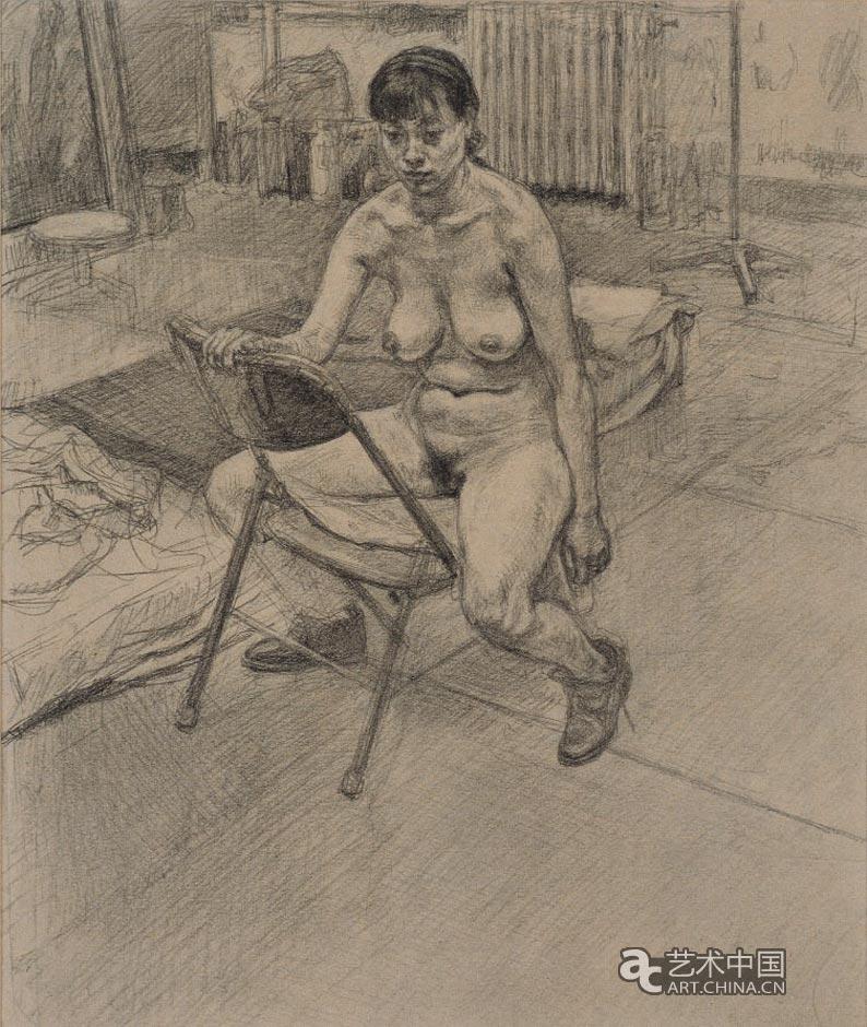坐在靠背椅上的女人体 基础素描教学