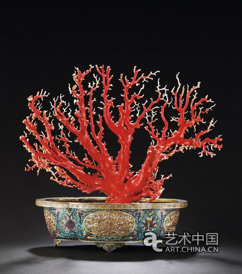 清乾隆景泰蓝福寿珊瑚树盆景