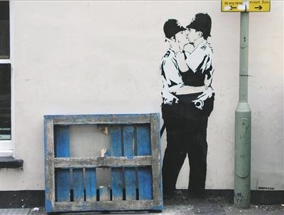 班克斯2005年在英国布莱顿的涂鸦作品