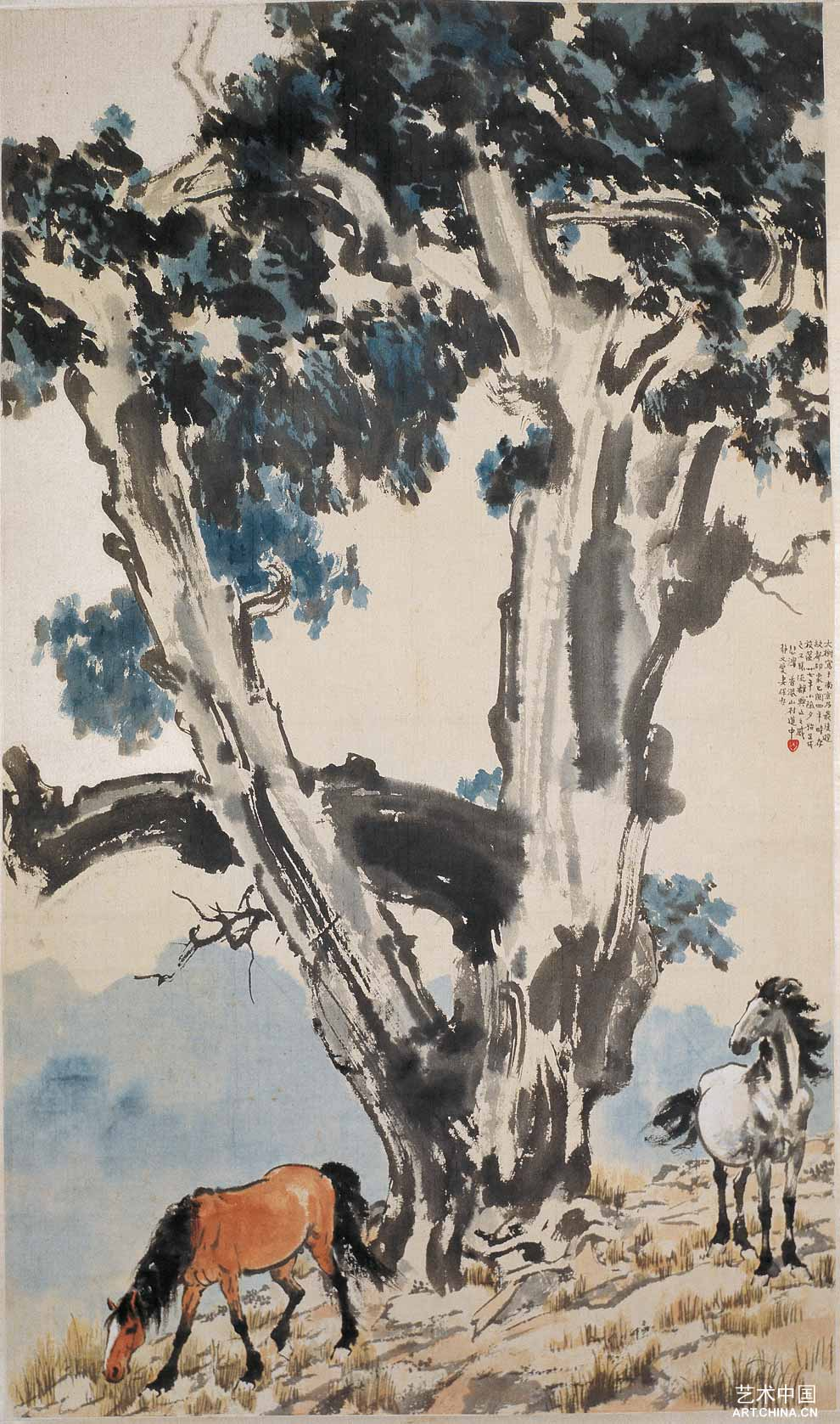 徐悲鸿水墨画; 大树双马;; 徐悲鸿大师国画作品18 大树双马  (510x870