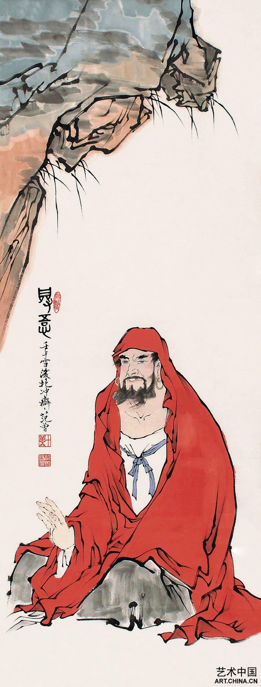 范曾 2002年作; 何农 范曾——中国书画名家作品鉴赏; 2002年作 达摩图片