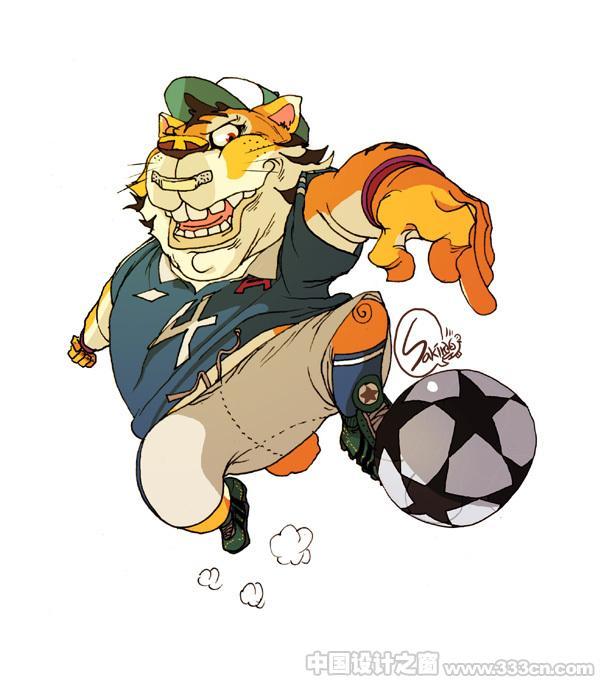 特殊的动物足球运动员角色