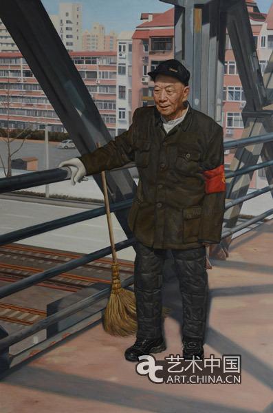 杜文杰《扫桥爷爷窦珍》 120cmx80cm 2014年