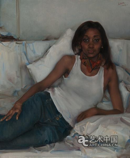 中国当代油画黑人女孩黑人姑娘庞茂琨油画