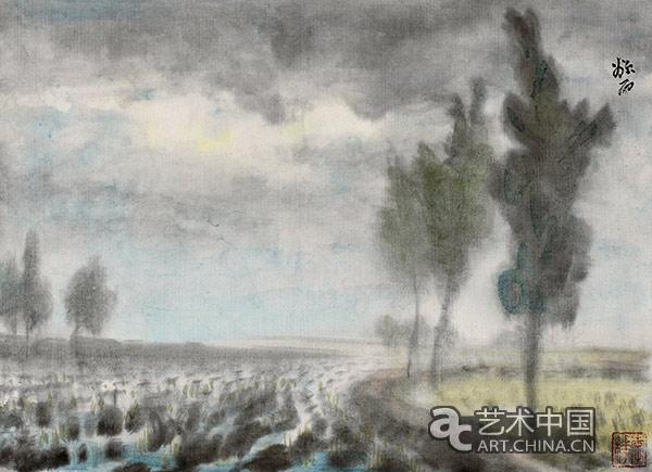田间风景 纸本水墨 30×40.2cm 20世纪40年代