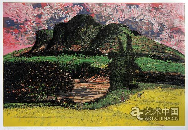 贺坤 《家乡的风景之二——红云秋田》 60×90cm 2014年