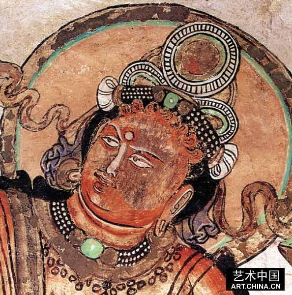 龟兹壁画风格的这八种类型,有着共同的造型因素和具体的类型特点。从上述的类型特点形式的分析看,各类型之间有着演化发展和混合的关系。 从克孜尔229窟、克孜尔尕哈31、库木吐拉43、森木赛姆5、44窟的壁画风格来看,这几个洞窟壁画为类型壁画和汉风格、回鹘风格的壁画并存,在绘画技法的混合形成了一些新的形式。【图65】