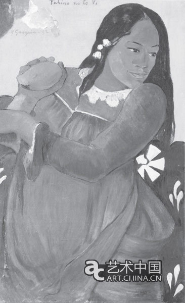 《手持芒果的女人》,高更,1892年