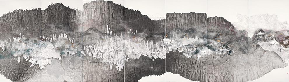 胡伟《黄山云雾》136cmx490cm--综合材料--2015年.jpg