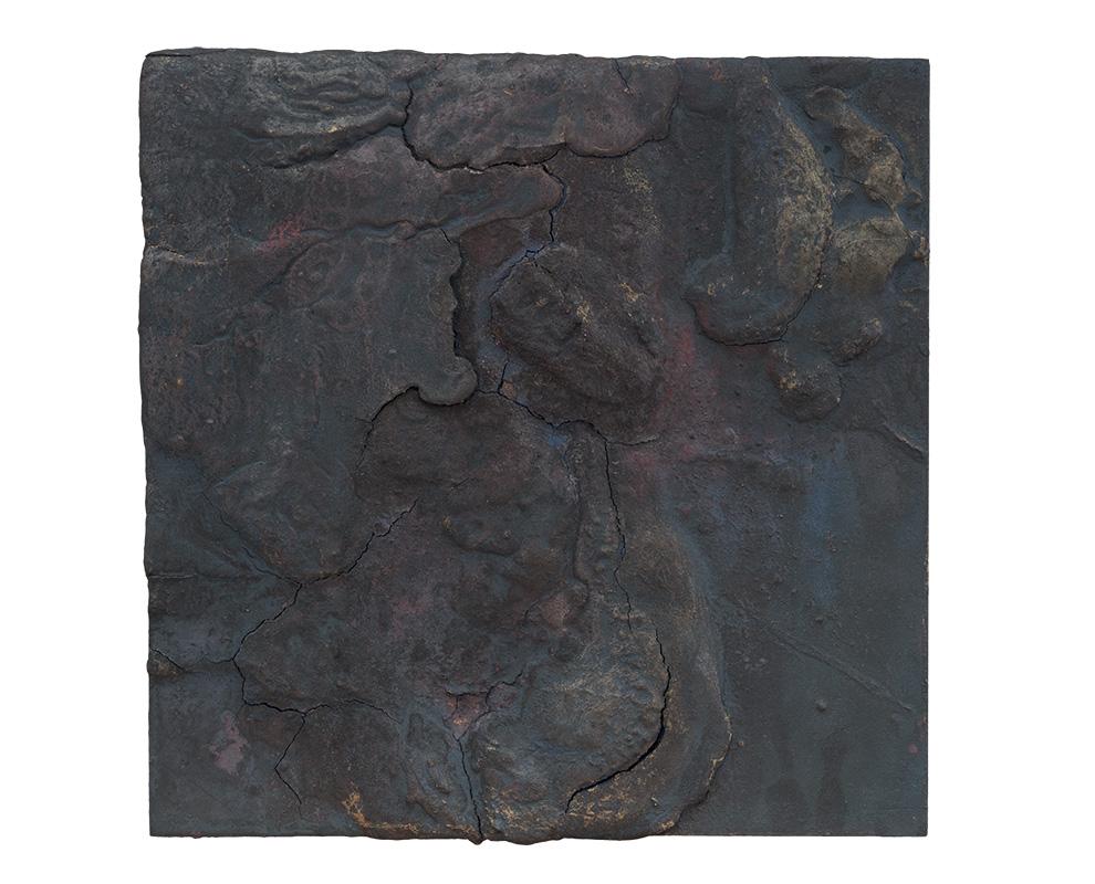 胡伟《黑漆古》三-50x50cm--木质构造、麻纸、矿物·植物·土质颜料、箔--2015年-.jpg