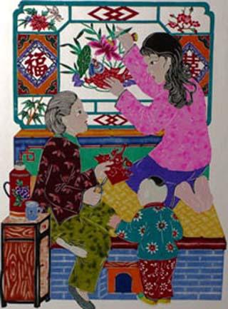 全书共收录单色剪纸,点采窗花,戏剧脸谱等形式的15个类别500余幅代表